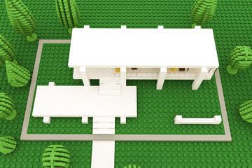 modern hous made of plastic bricks