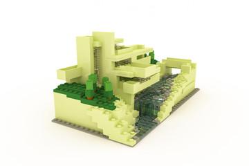 modern house made of plastic bricks
