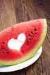 Slice of watermelon with cut in the heart shape