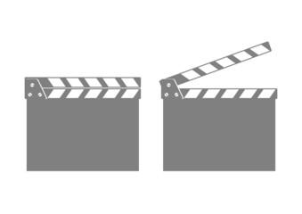 Grey movie clapper on white background