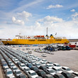 Cargo sea port. Sea cargo cranes. Cars. - 69267109