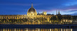 Panoramic view of Lyon at sunset with Rhone river
