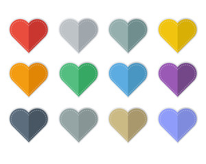Set of Colorful hearts