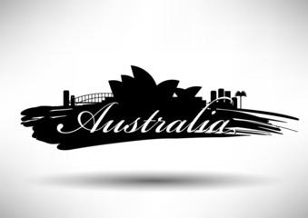 Australia Typographic Skyline Design
