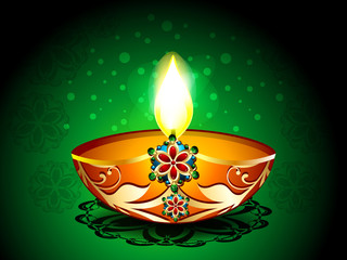 Diwali Background with artistic deepak