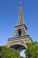 Looking up at the Eiffel Tower in Paris