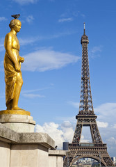 Golden Statue at the Trocadero and Eiffel Tower
