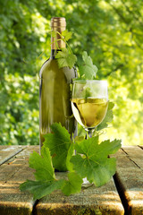 white wineglass on wooden table