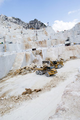 Industrial marble quarry site in Carrara, Italy