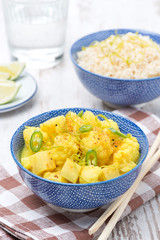 vegetable curry with lime, vertical