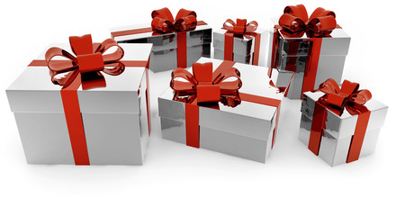 set of silver gift boxes