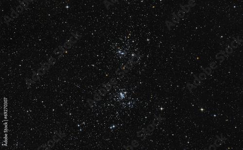 Fotobehang Nacht Doppio ammasso di stelle nella costellazione del Perseo