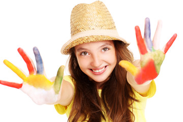 Joyful girl with paint on her hands