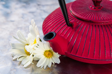 tea pot with chamomilies flowers