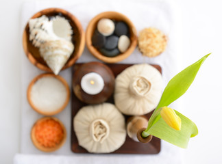 spa still life with spa herbal balls, candlestick, tulip, stones