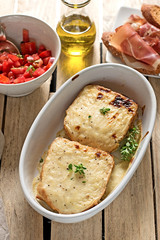 French sandwiches Croque-Monsieur with bechamel sauce