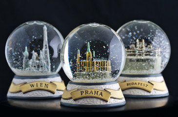 Snow globes of Prague, Wienna and Budapest