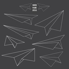 Paper plane, line design, vector illustration