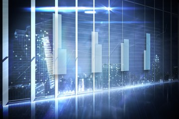 Hologram interface in office overlooking city