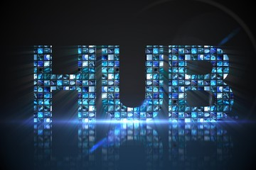 Hub made of digital screens in blue