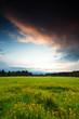 canvas print picture - Abendwiese - Blick zum Brocken