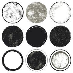 Circles set. A set of nine circles with grunge texture