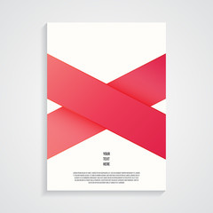 Poster design template, red ribbons, vector illustration