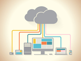 cloud devices flat design illustration