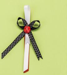 ribbon on green