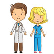 Cartoon doctor and nurse