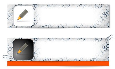 set of two banners with the texture of the numbers and pencil