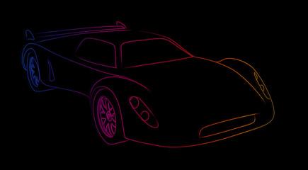 Neon sports car