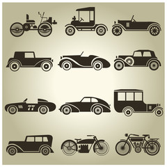 12 vector icons of vintage vehicles