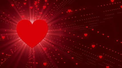 red abstract loop motion background, particle heart