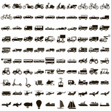 100 vector icons of transport