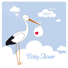 baby boy shower card, stork is carrying a baby boy