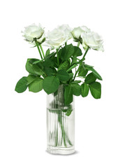 White roses bouquet in a glass vase