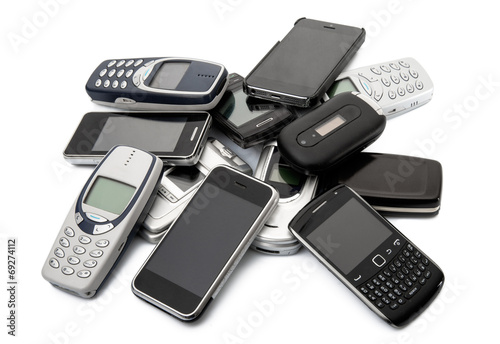 Leinwanddruck Bild vecchi telefonini