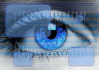 eye with high-tech transparent screen