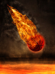 basketball in fire on the Ring