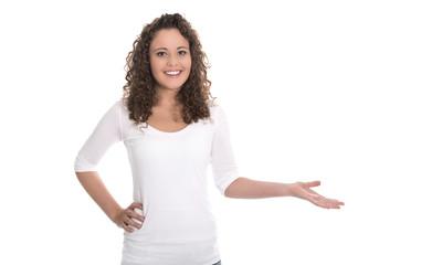 Präsentation: junge Frau isoliert auf weiß mit Hand