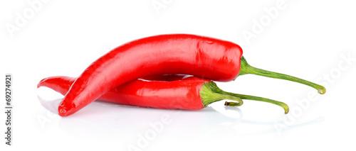 Leinwandbild Motiv Red peppers, chilli isolated on white background
