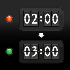 Daylight saving time digital dial clock face