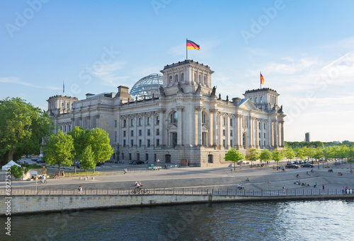 Fotobehang Berlijn Reichstag building, view from Spree river in Berlin, Germany