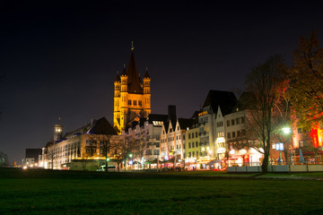 The river enbankment and St. Martin church in Cologne, Germany