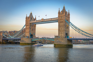 Famous Tower Bridge at sunset, London, England