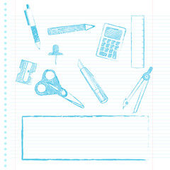 School supplies with copy space