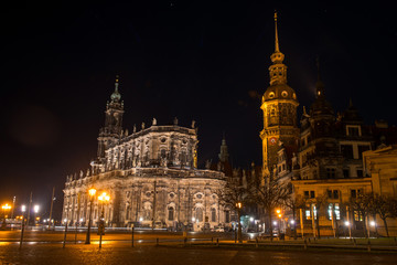 Cathedral of the Holy Trinity and Dresden castle at night