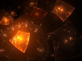 Glowing orange objects in space
