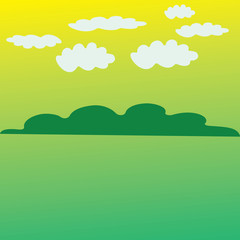 abstract country landscape with white cloud background